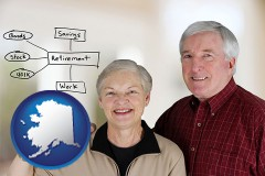 ak a retired couple reviewing their investments