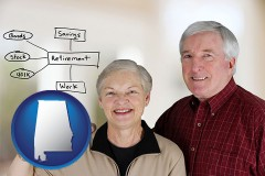 al a retired couple reviewing their investments