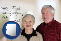 az a retired couple reviewing their investments