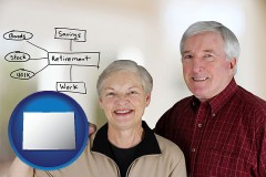 co a retired couple reviewing their investments