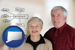 ct a retired couple reviewing their investments