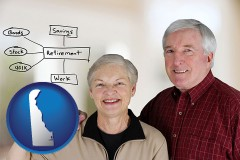 delaware a retired couple reviewing their investments