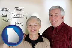 ga a retired couple reviewing their investments