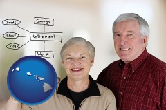 hi map icon and a retired couple reviewing their investments