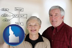 id a retired couple reviewing their investments