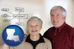 la map icon and a retired couple reviewing their investments