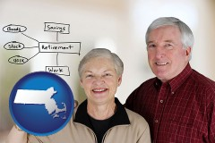 ma a retired couple reviewing their investments