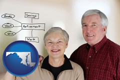md a retired couple reviewing their investments