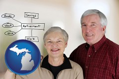 mi a retired couple reviewing their investments