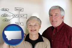 mt a retired couple reviewing their investments