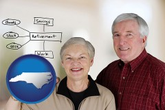 nc a retired couple reviewing their investments