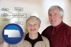 nebraska a retired couple reviewing their investments