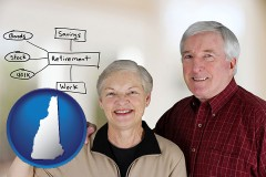 nh a retired couple reviewing their investments