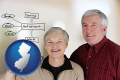 nj a retired couple reviewing their investments