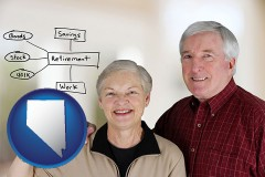 nv a retired couple reviewing their investments