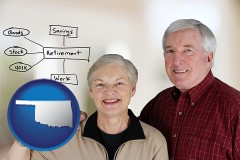 oklahoma a retired couple reviewing their investments