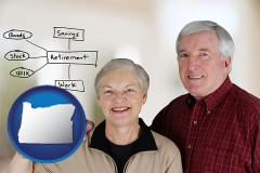 oregon a retired couple reviewing their investments