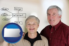 pa a retired couple reviewing their investments