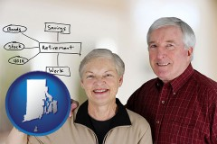 rhode-island a retired couple reviewing their investments