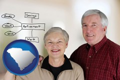 south-carolina a retired couple reviewing their investments