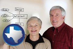texas a retired couple reviewing their investments