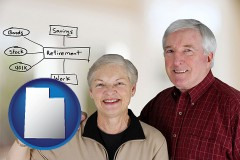 ut a retired couple reviewing their investments