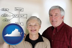 va a retired couple reviewing their investments