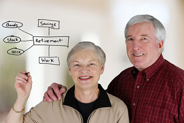 a retired couple reviewing their investments